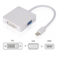ADAPTADOR 3 EN 1 MINI DP DISPLAYPORT A HDMI/DVI/VGA | BLANCO