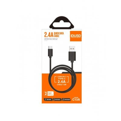 CABLE TIPO C 1.2M 2.4A | NEGRO
