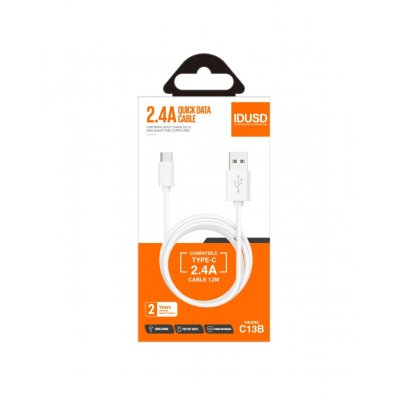 CABLE TIPO C 1.2M 2.4A | BLANCO