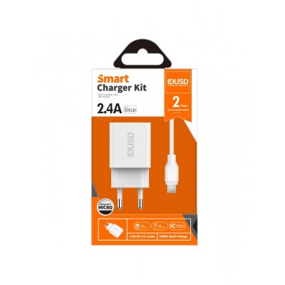 CARGADOR SMART CHARGER 2-USB 2.4A 12W + TURBO CABLE MICRO USB 1.2M | BLANCO