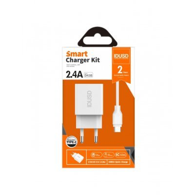 CARGADOR SMART CHARGER 2-USB 2.4A 12W + TURBO CABLE TIPO C 1.2M | BLANCO